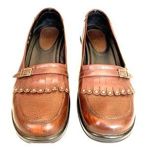 Dansko brown leather fringe loafer size 40